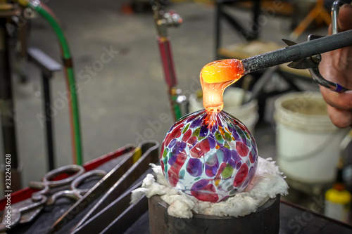 A Beautiful Glass Ball Being Made by a Glass Blower Canvas Print
