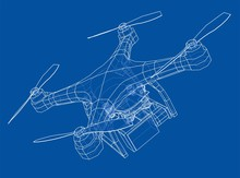 Drone Concept. Vector Rendering Of 3d
