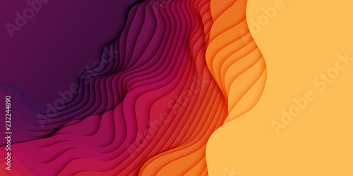 Fototapeta Vector 3D abstract background with paper cut shapes