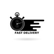Black Fast delivery icon, Speed Time Icon Logo