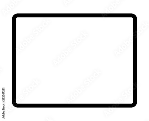 Fotografia  Protable tablet computer device with edge to edge screen flat vector icon for ap