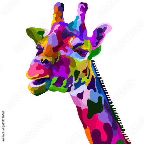 colorful giraffe head isolated on white background Wallpaper Mural