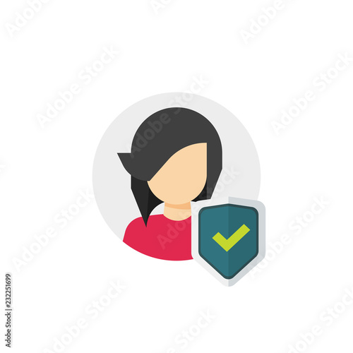Photo Privacy icon vector, flat cartoon shield checkmark with user silhouette symbol,