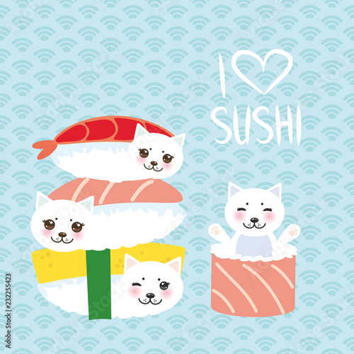 0843e1f66 I love sushi. Kawaii funny Sushi set and white cute cat with pink cheeks  and eyes, emoji. Baby blue background with japanese circle pattern. Vector