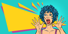 Woman Panic, Fear, Surprise Gesture. Girls 80s