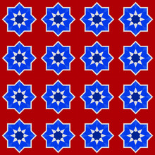 Moroccan Seamless Pattern, Morocco. Patchwork Mosaic Traditional Folk Geometric Ornament Burgundy Navy Blue Cobalt Red White. Tribal Oriental Style. Can Be Used For Fabrics, Wallpapers. Vector