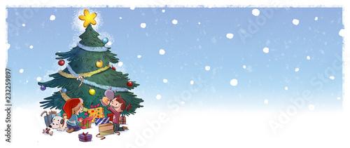 Vászonkép niños con arbol de navidad y regalos
