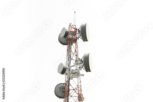 Telecom tower,low angle view..Close up of antenna tower on hill top include of  radio microwave and cellular 4G network ,isolated white background.. #232261416