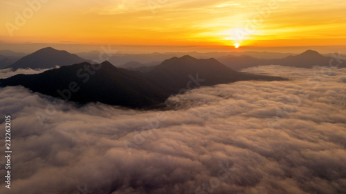 Papiers peints Arctique Sunrise aerial view foggy landscape from drone fly. This is landmark tourism of Chiang Khan Loei province Thailand.