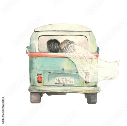 Fotografie, Obraz  just married couple in the bus, watercolor