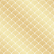Seamless Gold Art Deco Palm Leaf Pattern