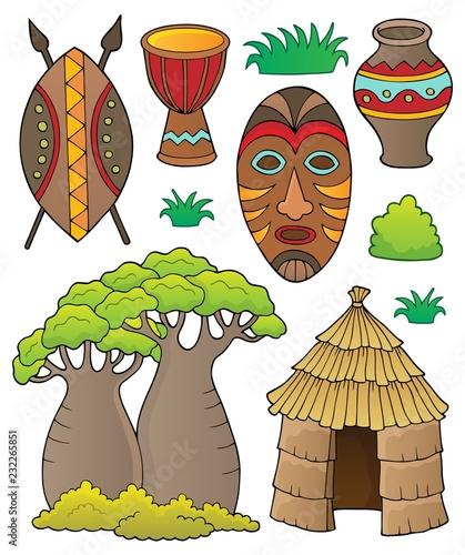 Papiers peints Enfants African thematics set 1
