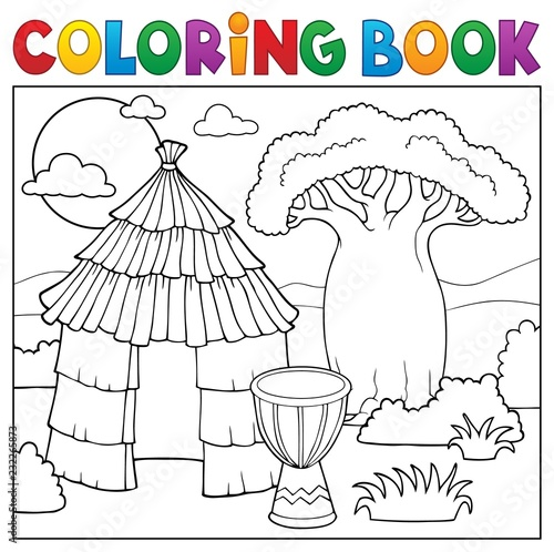 In de dag Voor kinderen Coloring book African thematics 1
