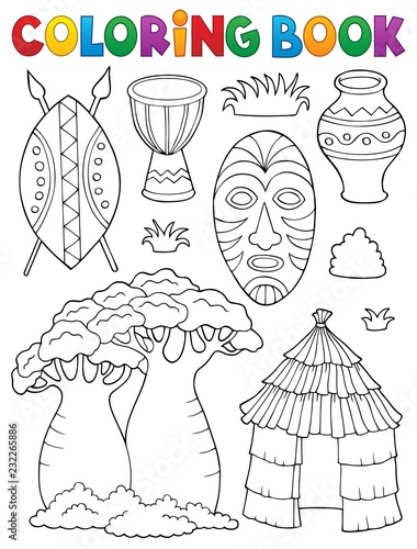 Tuinposter Voor kinderen Coloring book African thematics set 1