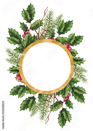 Card Template With Holly And Christmas Tree Buy This Stock