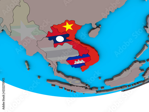 Foto  Indochina with embedded national flags on simple political 3D globe