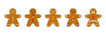 Set, Collection Of Cute Cartoon Gingerbread Man, Christmas Traditional Cookies, Biscuits Isolated On White Background.