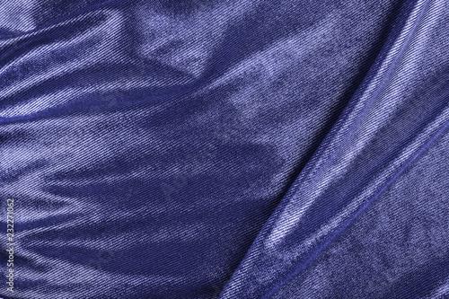Fotobehang Stof Crumpled fabric blue texture.