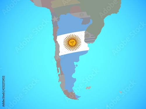 Fotografie, Tablou  Argentina with national flag on blue political globe.