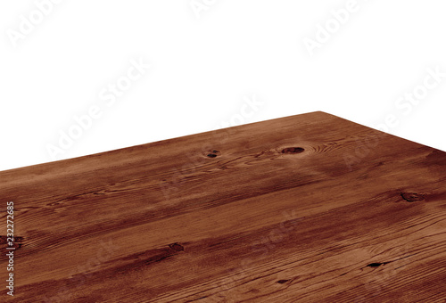 Fototapeta  Perspective view of wood or wooden table corner on white background including cl