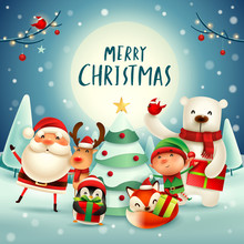 Merry Christmas! Happy Christmas Companions In The Moonlight. Santa Claus, Reindeer, Elf, Polar Bear, Fox, Penguin And Red Cardinal Bird In Christmas Snow Scene.
