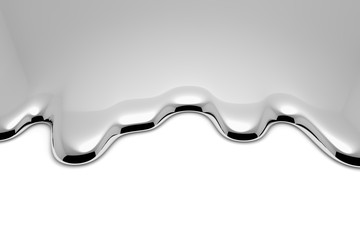 Melt metal liquid on white closeup