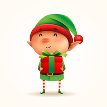 Little Elf With Gift Present. ...