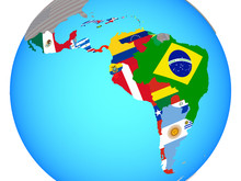 Latin America With National Flags On Blue Political Globe.