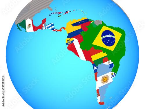 Fotografie, Obraz Latin America with national flags on blue political globe.