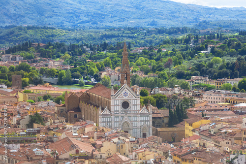 Fotografija View of the Basilica di Santa Croce in Florence from a height, Italy