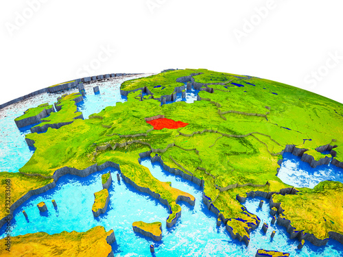 Photo  Czech republic on 3D Earth with visible countries and blue oceans with waves