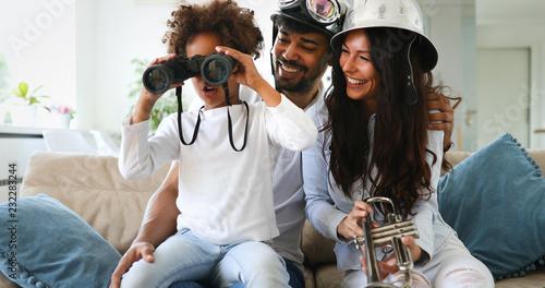 Obraz Cute african american family enjoying time at home - fototapety do salonu