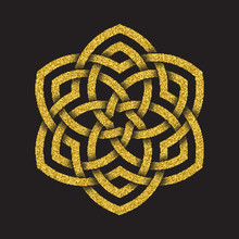 Golden Glittering Logo Symbol In Celtic Style On Black Background. Tribal Symbol In Circular Form. Gold Stamp For Jewelry Design.