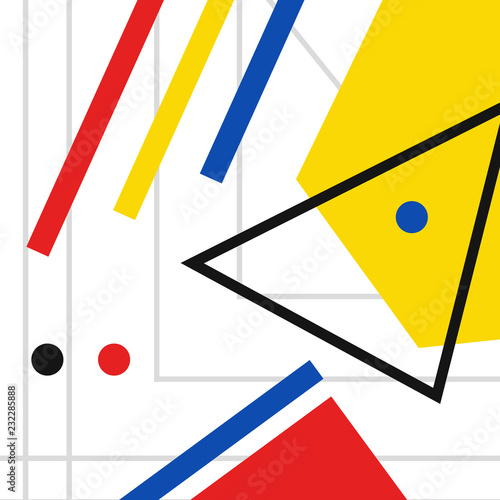 Fotografie, Obraz  Retro geometric bauhaus, swiss, memphis cover template background