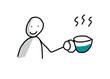 Pause, Mensch mit Heißgetränk, Kaffee oder Tee