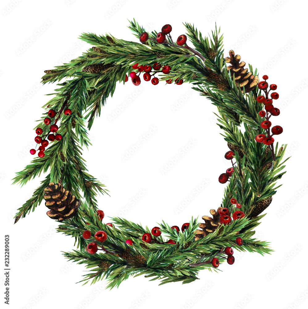 Wieniec świąteczny z choinką, gile, czerwone zimowe jagody. Zimowy wieniec malowany akwarelą
