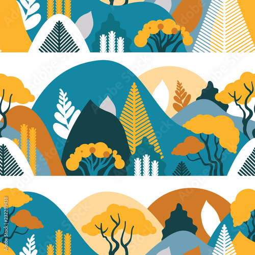 In de dag Groene koraal Seamless pattern. Mountain hilly landscape with tropical plants and trees, palms, succulents. Scandinavian style. Environmental protection, ecology. Park, exterior space, outdoor. Vector illustration.