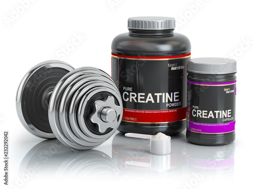 Fotografia  Creatine powder with scoop and dumbbell