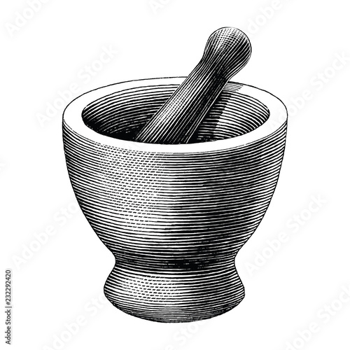 Fotografia Mortar and pestle vintage engraving illustration isolated on white background,Lo