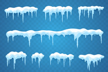 Snow Icicles Set Isolated On T...