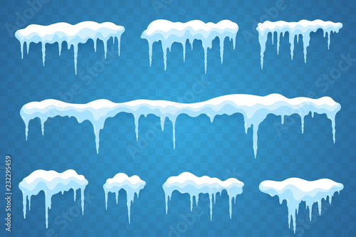 Fotografía Snow icicles set isolated on transparent background