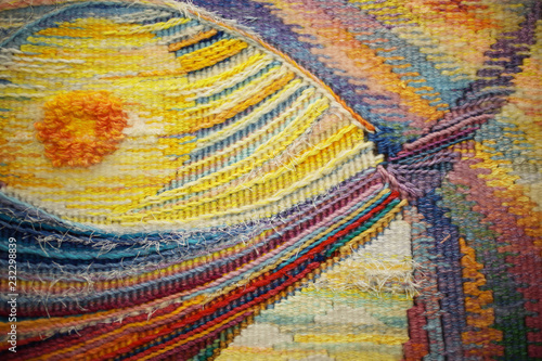 Fotografering Colored tapestry with multicolored decorative pattern