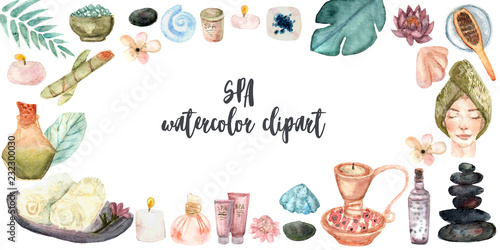 Spa Treatment Banner On White Background Design For Cosmetics Store Spa And Beauty Salon Organic Health Care Products Can Be Used As Logo Design Watercolor Illustration Drawn In A Stream Of Energy Buy This