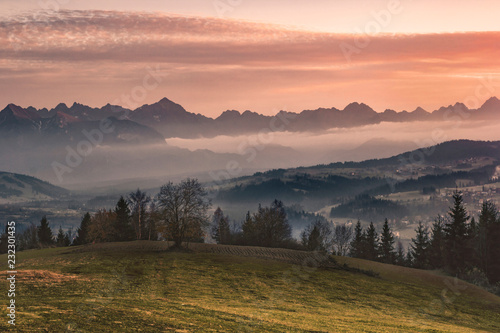 Printed kitchen splashbacks White Autumn view of Tatra Mountains