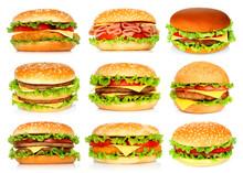 Big Hamburgers Set On White Background