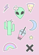 90s Pastel Goth Alien Icon Set