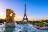 Fototapeta Fototapety z wieżą Eiffla - View of Eiffel Tower from Jardins du Trocadero in Paris, France. Eiffel Tower is one of the most iconic landmarks of Paris