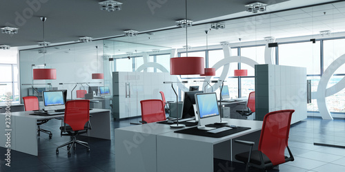 Modern corporate office red Fototapet