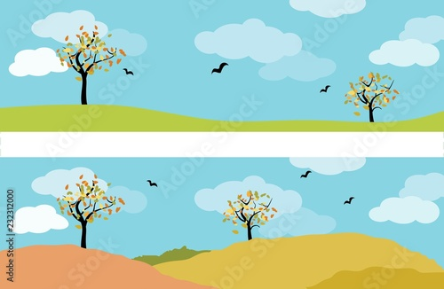 Foto op Canvas Pool set of two autumn landscape panorama with deciduous tree, meadow, birds and blue sky