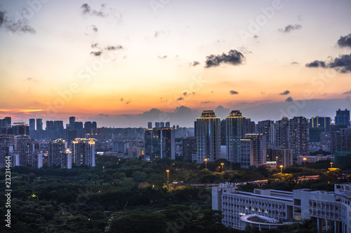 Foto op Canvas Stad gebouw panoramic city skyline